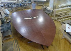 160th SOAR U Shaped Oak Boardroom Table