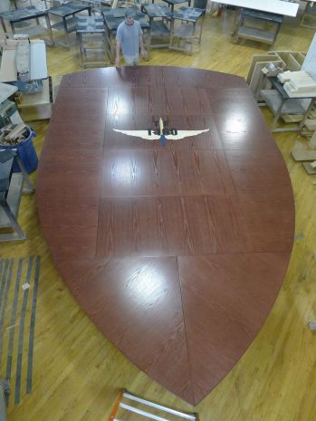 160th SOAR V Shaped Oak Boardroom Table
