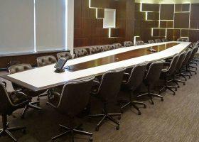 Anchorage Capital Boat Shaped Walnut Boardroom Table