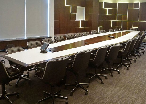 Anchorage Capital Boat Shaped Walnut Boardroom Table