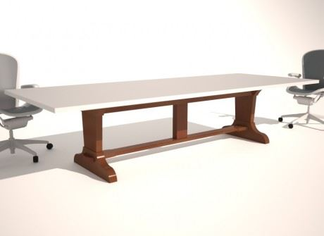 Trestle-Curved Foot Conference Table Base
