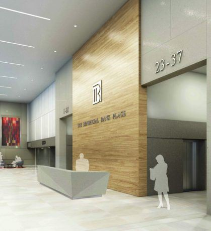 Rendering of Wood Feature Wall at 1818 Market Street