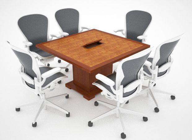 Amazing White Tail Modular Table, 48 X 48 With Power And Data