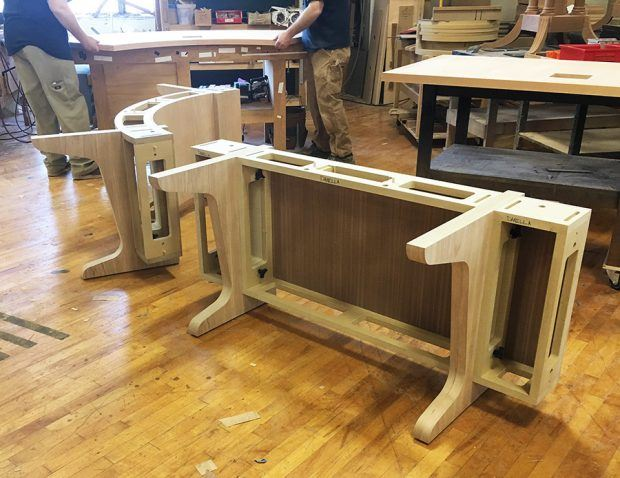 Modular tables paul downs cabinetmakers two reconfigurable cases in construction note wire runs scissoring tables keyboard keysfo Choice Image