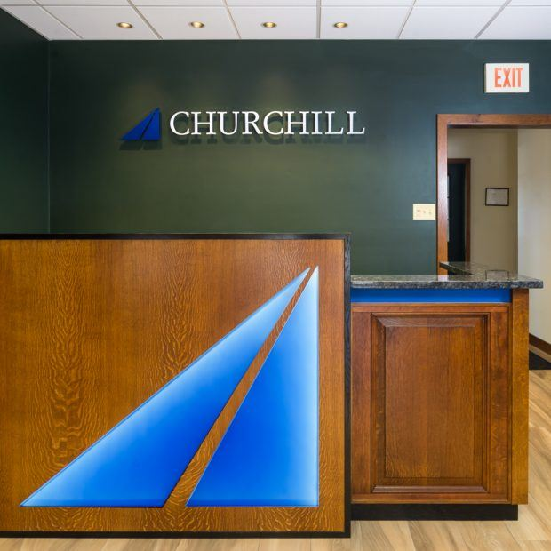 reception desk with LED lightbox logo