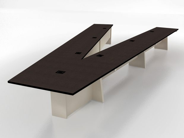 v-shaped conference room table