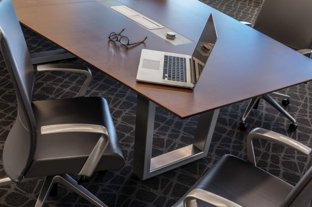 modern boat-shaped conference table