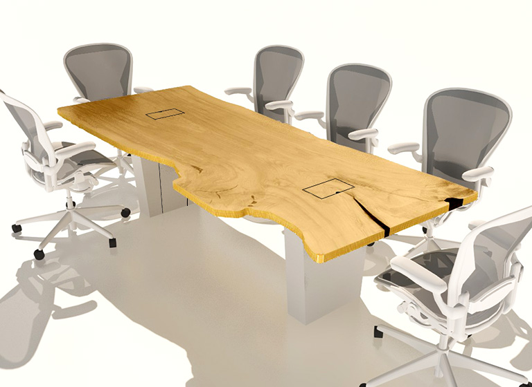 solid wood table with power