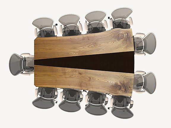 solid wood videoconferencing table