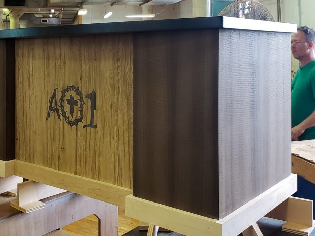 custom desk with logo