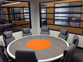 round colorful conference table