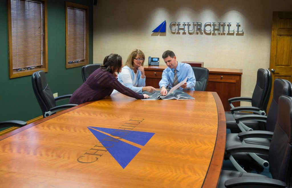 conference table with logo