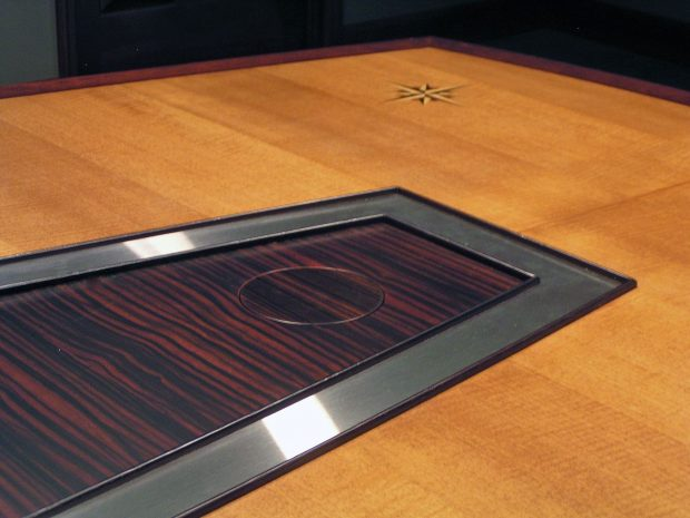 AC Lines Cherry Conference Table with Data Ports