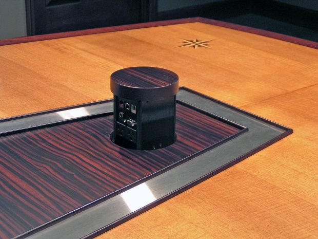 AC Lines Completely Custom Conference Table with Power