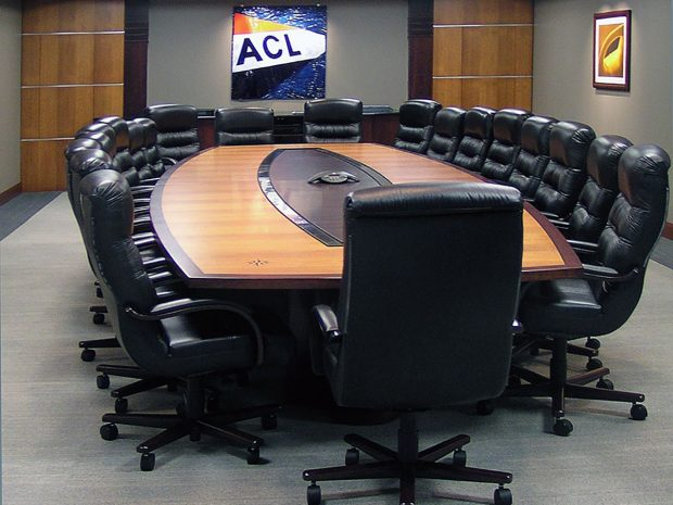AC Lines Custom Conference Tables with Inlaid Logos