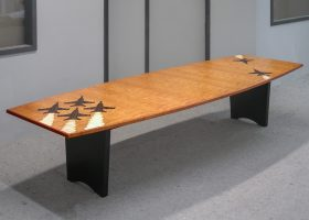 Blue Angels Pilot Association Custom Cherry Conference Table with Logo