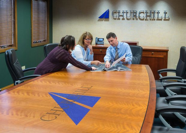 Churchill Engineers Rectangle Cherry Conference Table