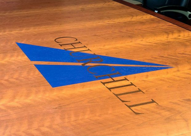 Churchill Engineers Rectangular Conference Table with Logo