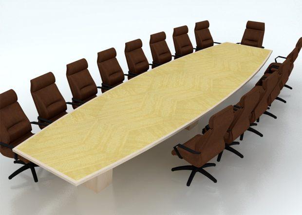 CubeSmart Boat Shaped Boardroom Table