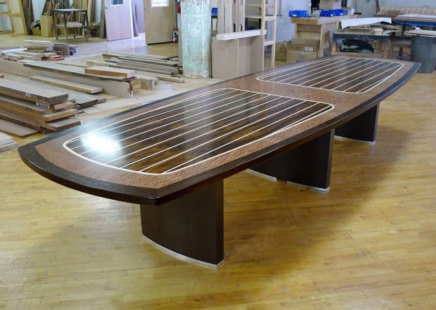 Geier Custom Designed Boat Shape Meeting Table
