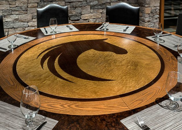 Custom Round Dining Table with Lindy Farms Logo