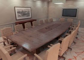 Salamander Resort Boat Shaped Boardroom Table with Logo