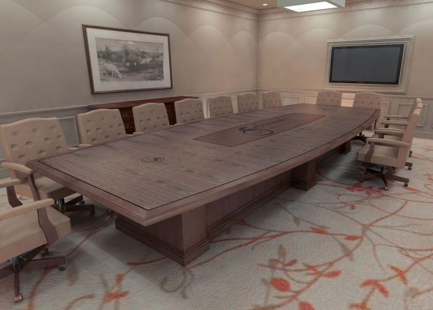 Salamander Resort Custom Walnut Boardroom Table with Logo