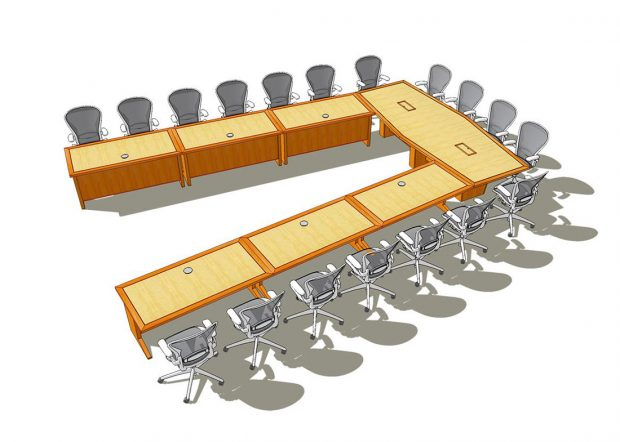 FCU Cherry U Shaped Conference Table