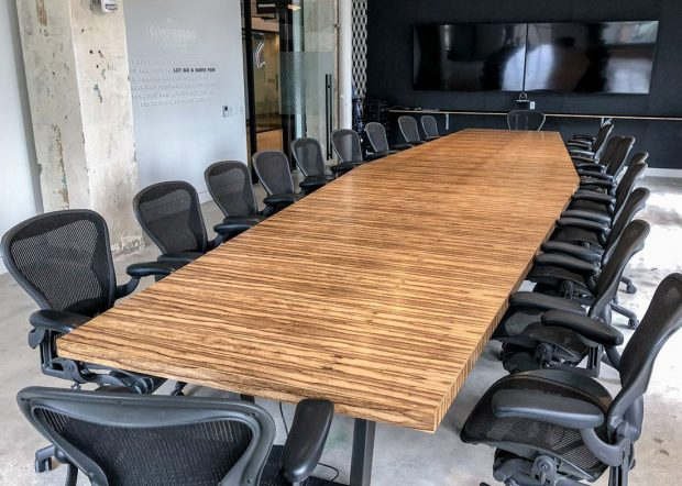 Five Below Angular Boat Shaped Conference Table