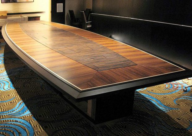 Foxwoods Boat Shaped Boardroom Table