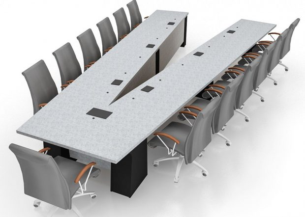 General Atomics Custom V-Shaped Conference Table
