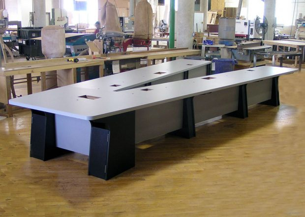 General Atomics V-Shaped Laminate Conference Table