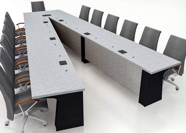 General Atomics V-Shaped Multimedia Conference Table