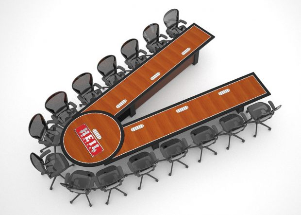 Heil Trailer Custom V Shaped Conference Table