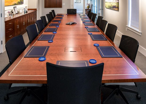 Chemical Company Rectangular Flame Cherry Conference Table