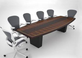 Little Foxwoods Boat Shaped Custom Boardroom Table