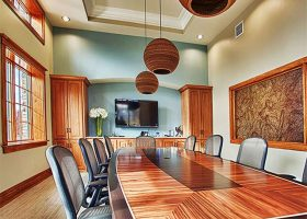 Rich Rosewood Boat Shaped Conference Table