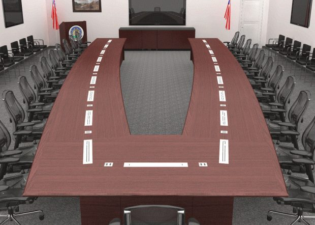 Undisclosed Large Conference Table with Motorized Monitors