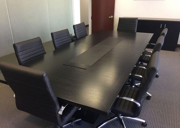 Phillips and Angley Modern Small Black Conference Table