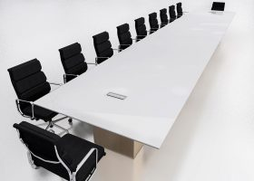 Schulte Roth & Zabel Glass Top Conference Table
