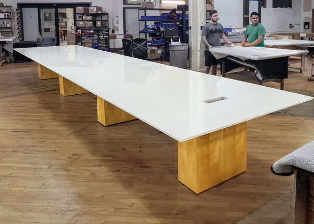 Schulte Roth & Zabel Glossy White Conference Table