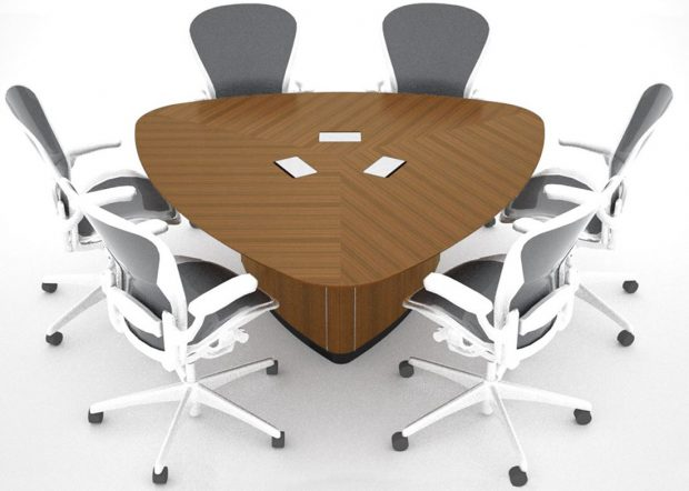 WK Custom Triangle Conference Table with Power