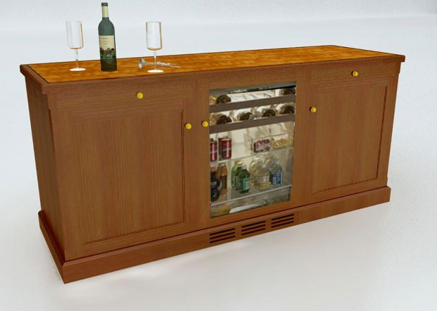 Churchill Custom Wood Credenza with Mini Fridge