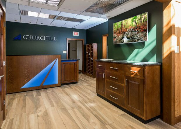 Churchill Engineers Custom Built Modern Reception Desk
