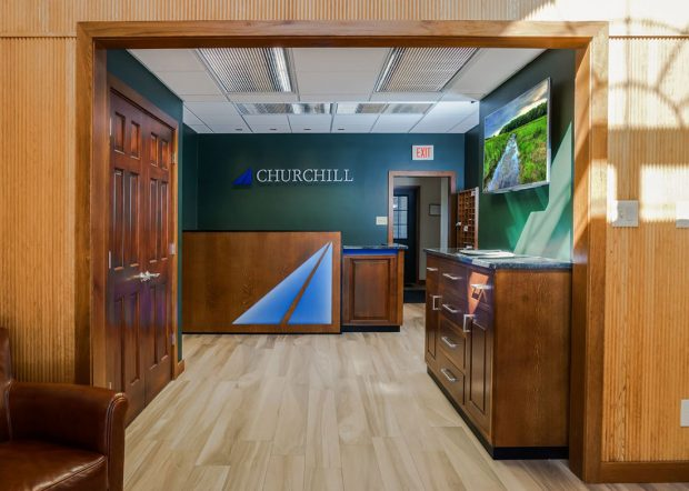 Churchill Engineers Custom Reception Desk with Logo