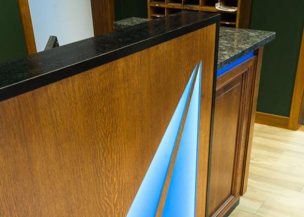 Churchill Engineers Wood Reception Desk with Logo