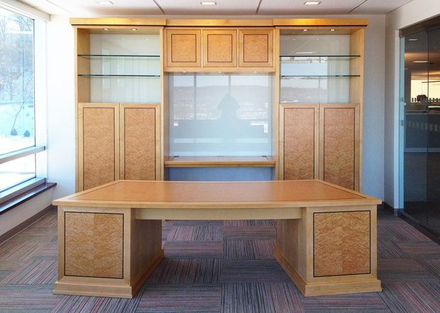 CubeSmart Office Bookshelves and CEO Desk