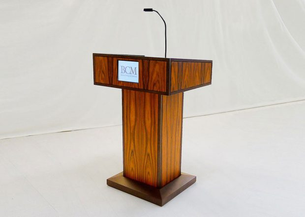 NASA CRF Custom Wood Standing Lectern