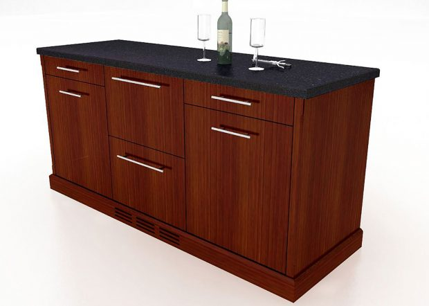 TM Custom Credenza with Mini Fridge