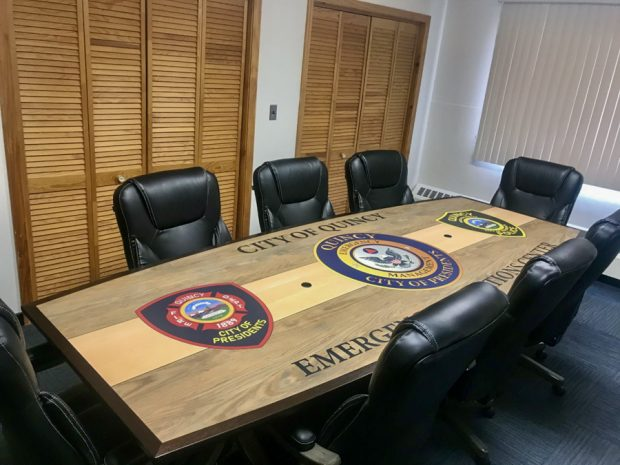 conference table with logos